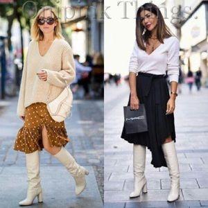 Zara white cream leather tall boots